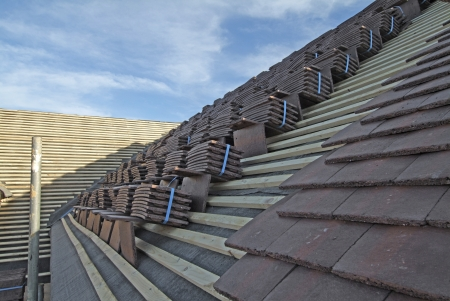 concrete plain roof tiles on new house under construction